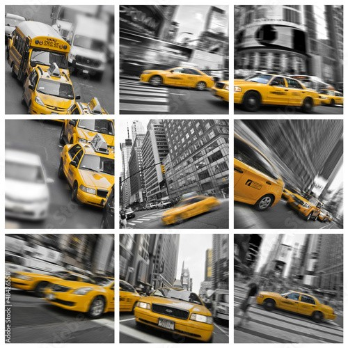 Collage carré taxis à New York - USA
