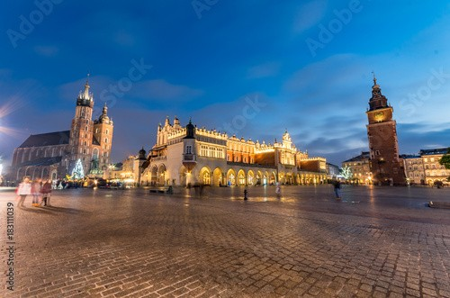 St Mary's church, Cloth Hall and Town Hall tower on the Main Market Square in Krakow, illuminated in the night