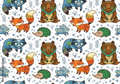 Woodland annimals seamless pattern